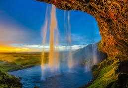 behind iceland waterfall